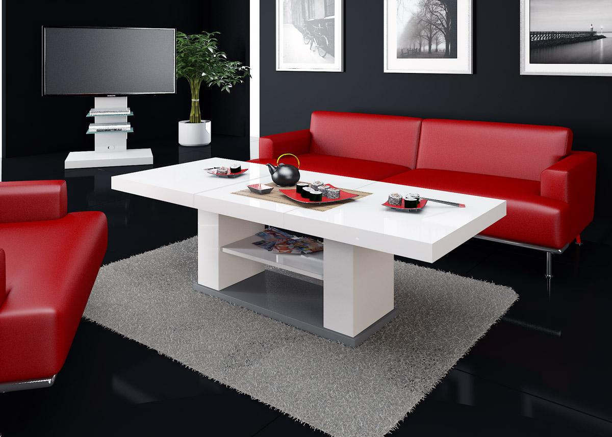 Televizní, konferenční stolky ve vysokém lesku, rozkládací jídelní stoly - moderní, luxusní provedení