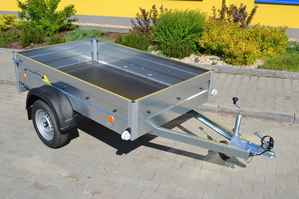 Skříňové přívěsy AGADOS za motorová vozidla, přívěsné vozíky, přepravníky aut, motorek