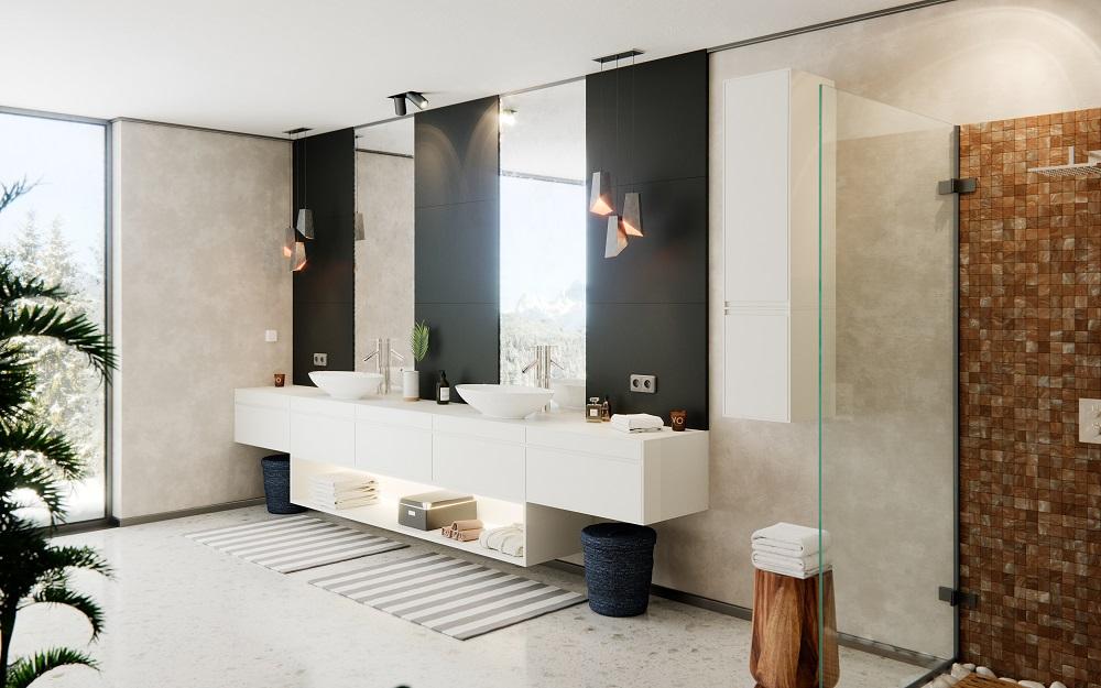 dvířka v koupelně z materiálu FENIXX - kombinace bílá, černá