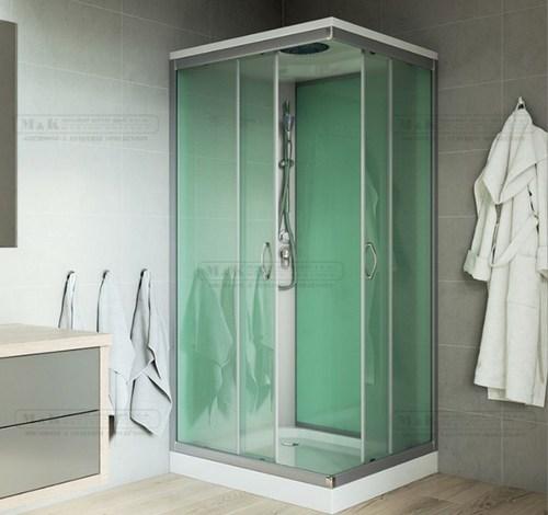 Sprchový box čtvercový s vaničkou SMC, se stříškou