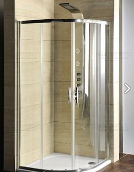 Sprchový kout čtvrtkruhový s vaničkou z litého mramoru