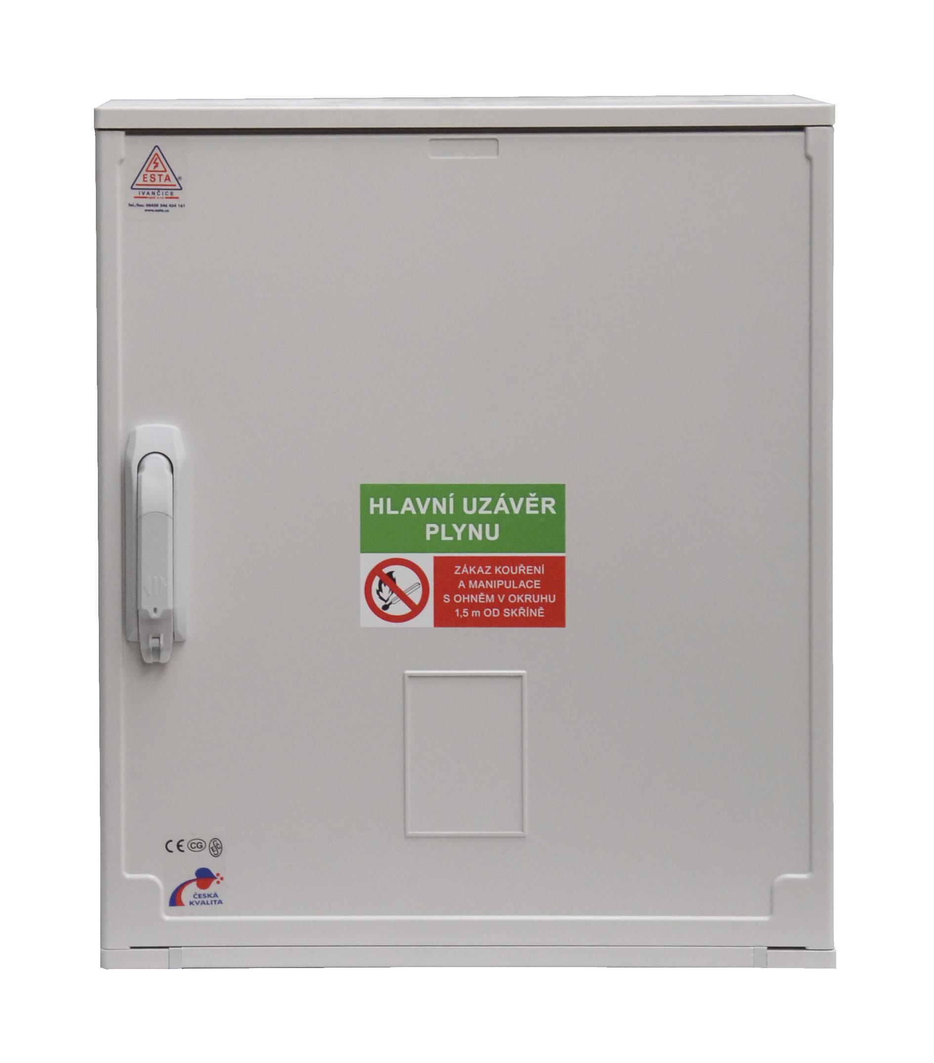 Plynoměrové plastové HUP skříně pro připojení hlavního uzávěru plynu, plynoměru a regulátoru tlaku