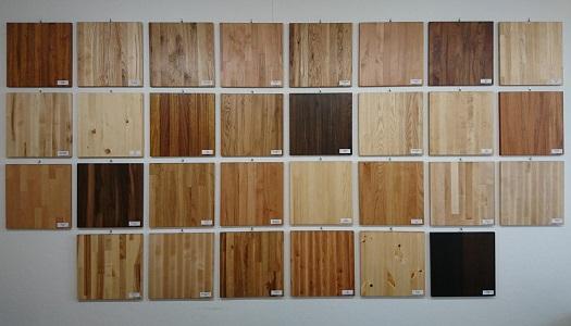 vzorky dřevin pro výrobu spárovek