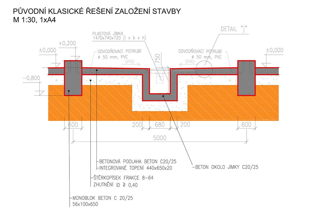 Původní řešení stavby