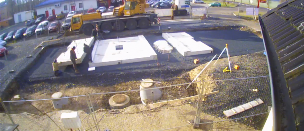 Stavba myček pro auta, mycí boxy z Beton panelů 5 v 1