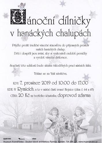 Předvánoční dílničky v Rymicích pořádá Muzeum Kroměřížska