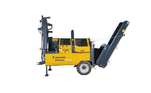 Štípací automaty TITAN, traktory Branson, navijáky Uniforest - lesnická, strojírenská a stavební technika
