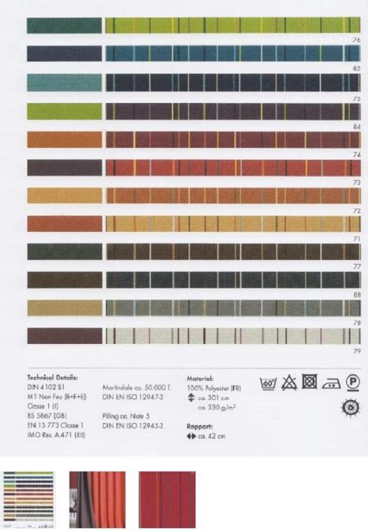 Široká škola designů a barev tkanin