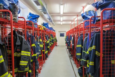 Šatna zásahových osobních ochranných prostředků pro hasiče