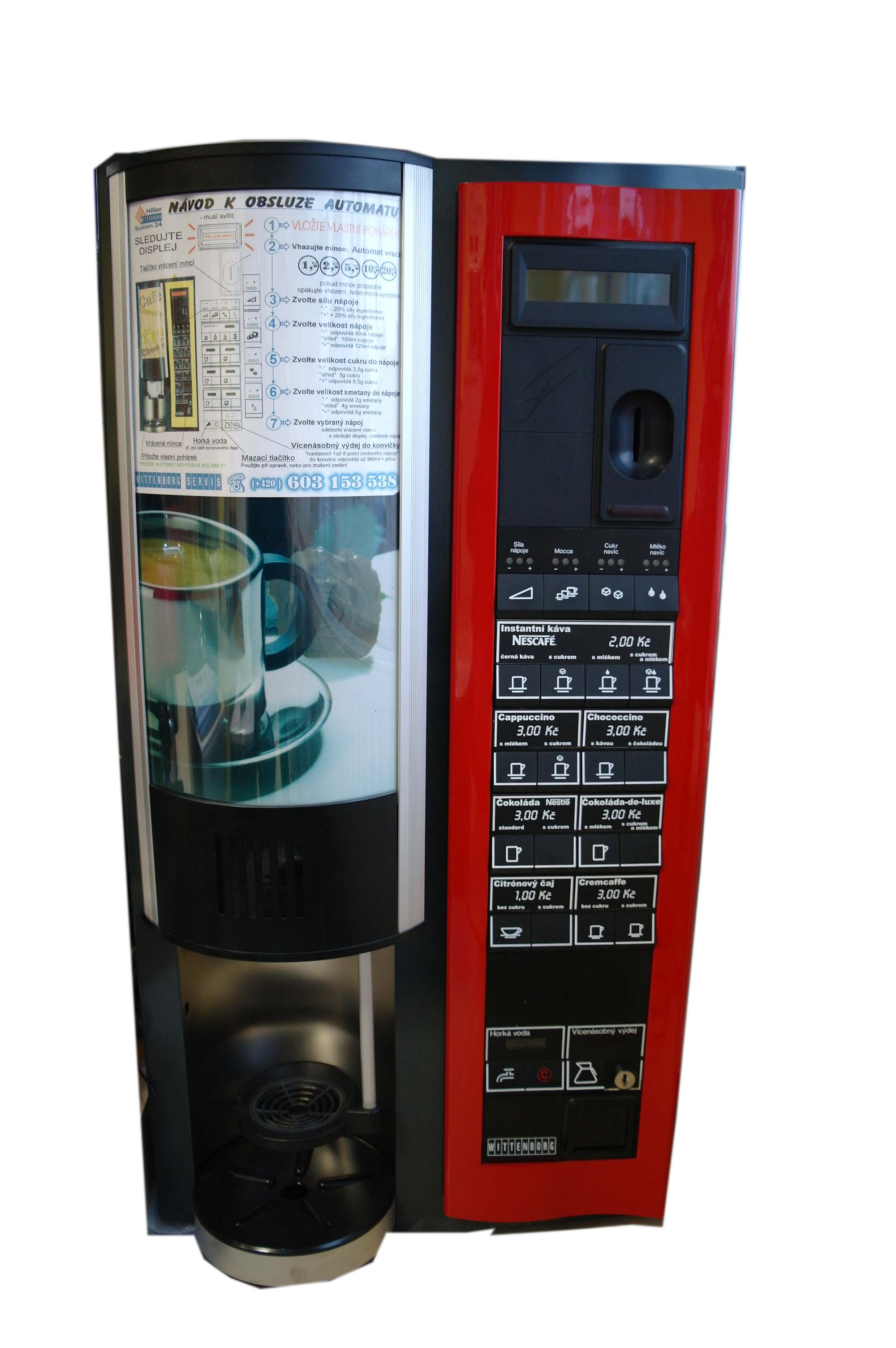 Prodejní nápojové automaty na kávu, nápoje a snacky eshop