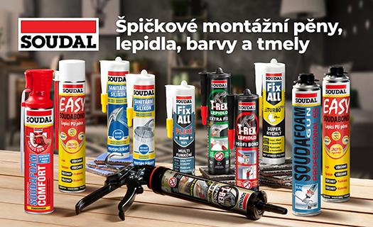Stavební chemie SOUDAL pro velkoobchod, tmely, lepidla, montážní pěny i stěrky, prodej