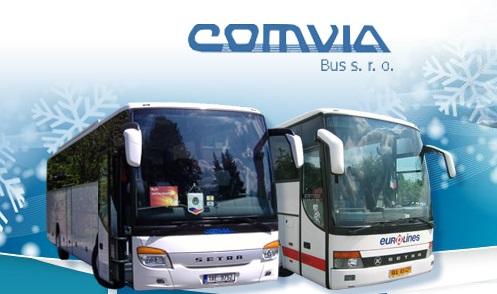 COMVIA BUS, s.r.o., Praha 5, autobusová doprava, zájezdy, lyžování, turistické výlety, transfery