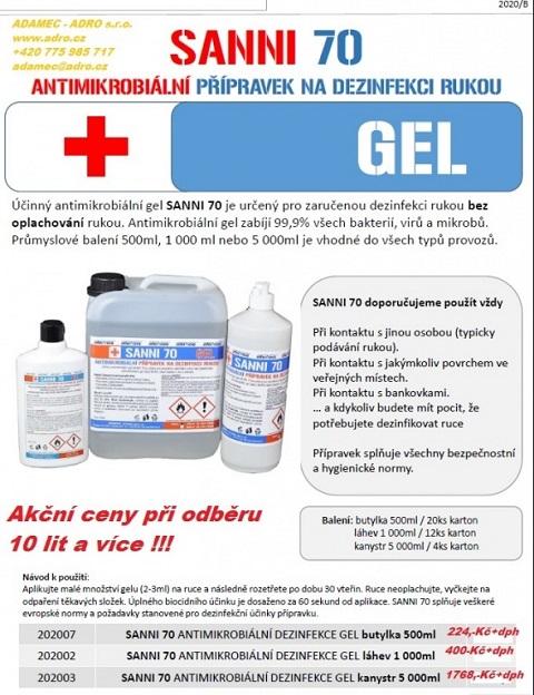 Antimikrobiální přípravky SANNI 70 a 80 na desinfekci rukou a povrchů - prodej za akční ceny