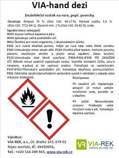 příbalové informace o dezinfekčním roztoku VIA-hand