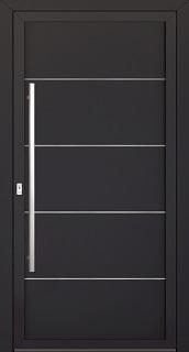 Plné vchodové dveře bez prosklení, zdobenénerezovými aplikacemi ve tvaru jemných, horizontálních linek
