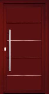 Model Flora v řadě Elegance-vchodové dveře bez prosklení s nerezovou aplikací