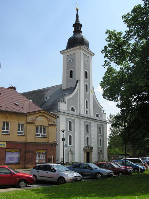 Historické památky města Javorník, památkové jádro centra, kostel