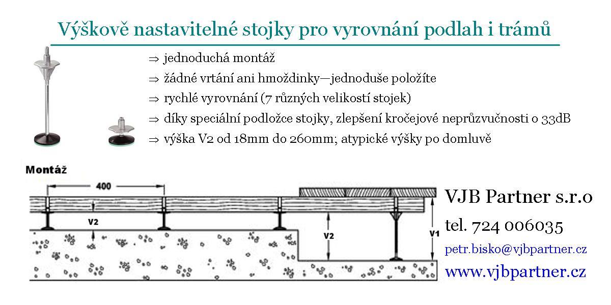 Výškově nastavitelné stojky pro vyrovnání podlah i trámů Jáchymov