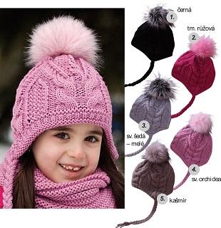Dívčí, chlapecká bavlněná čepice s fleecem a pletené  zimní čepice