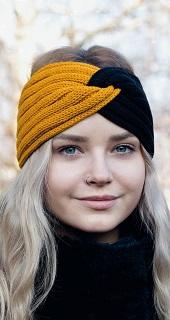 Moderní dámská a dívčí pletená čelenka – jednobarevné, dvoubarevné, s uzlem