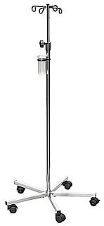 Snadno ovladatelný pojízdný infuzní stojan, který je kovový i výškově nastavitelný