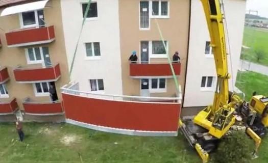 Nové závěsné balkóny, rekonstrukce Vysočany
