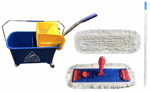 Úklidové sady s plochým nebo třásňovým mopem a vozíkem – prodej přes e-shop