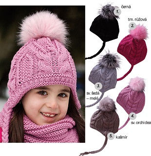 Dievčenská, chlapčenská bavlnená čiapka s fleecom a pletené zimné čiapky