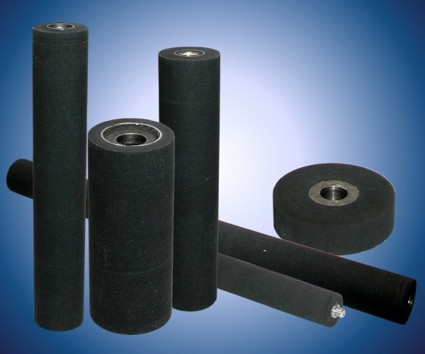 Rubberizing of rollers, pulleys with soft cellular, foam rubber