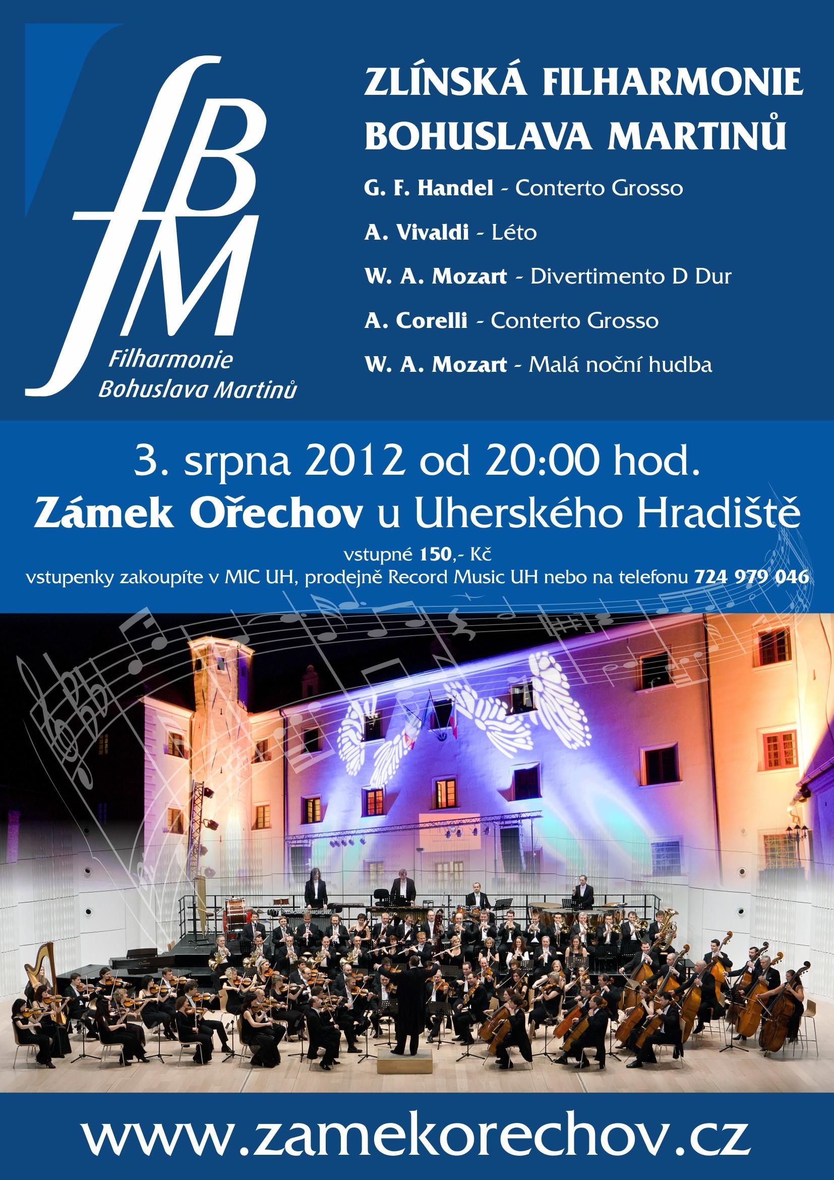 3. srpna 2012 Zlínská Filharmonie Bohuslava Martinů na Zámku Ořechov u Uherského Hradiště