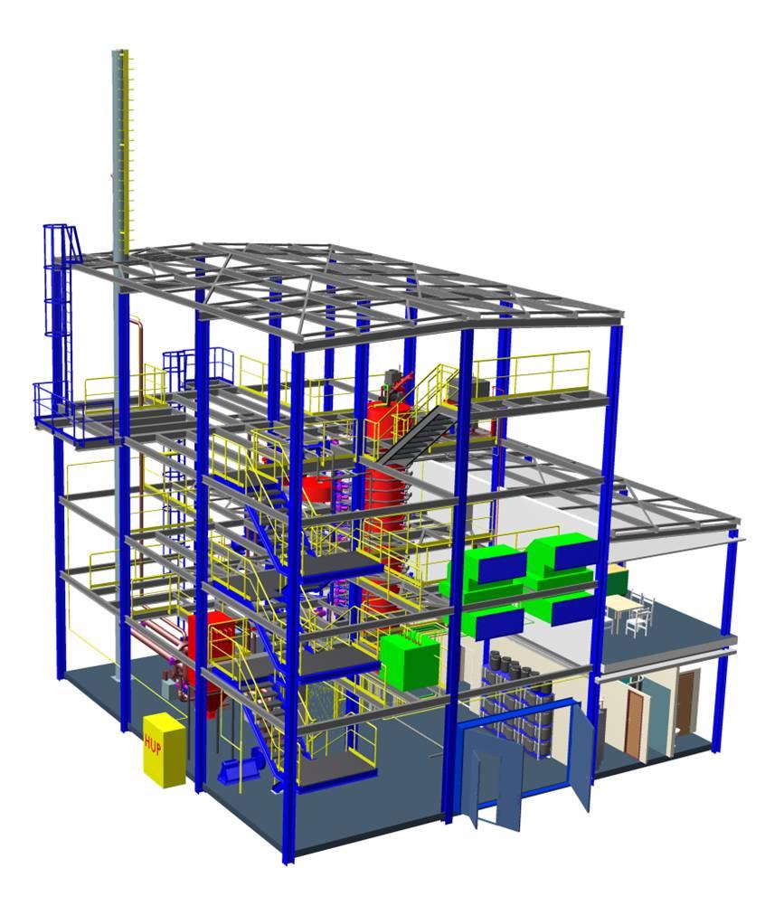 Zkušební spalovací komora pro testy práškového uhlí