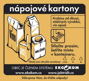 kontejner s oranžovou nálepkou na nápojový karton