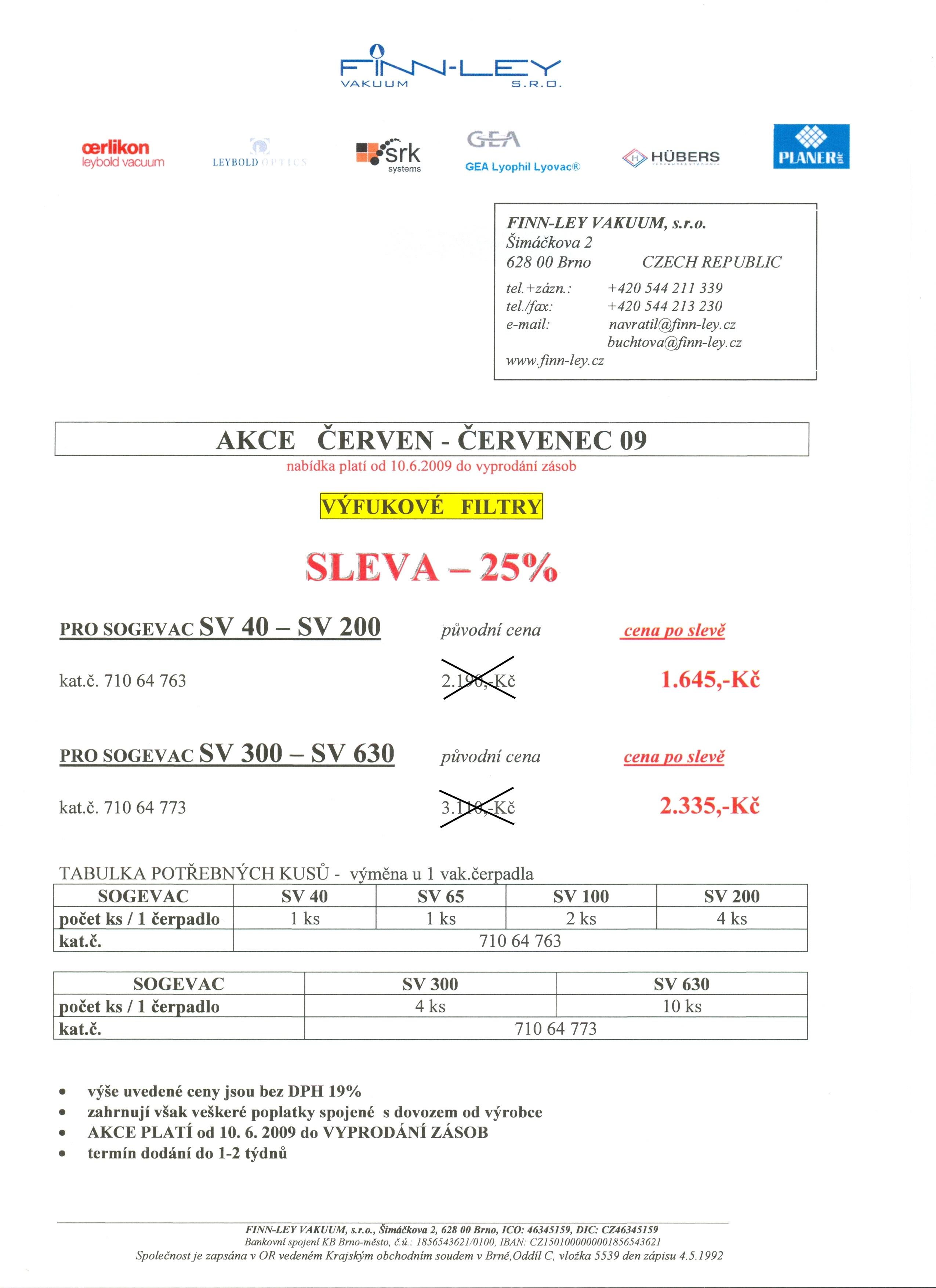 Výfukové filtry pro SV - 25% sleva