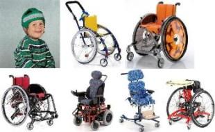 Invalidní vozíky pro děti.