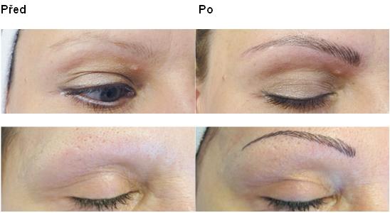 Permanentní make-up technikou vláskování, dokreslení chloupků obočí Opava