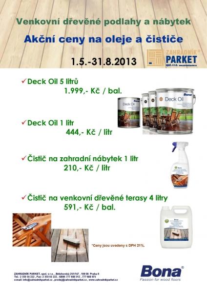 Akce - čističe venkovních dřevěných teras, oleje na dřevěné podlahy a zahradní nábytek Bona, Praha