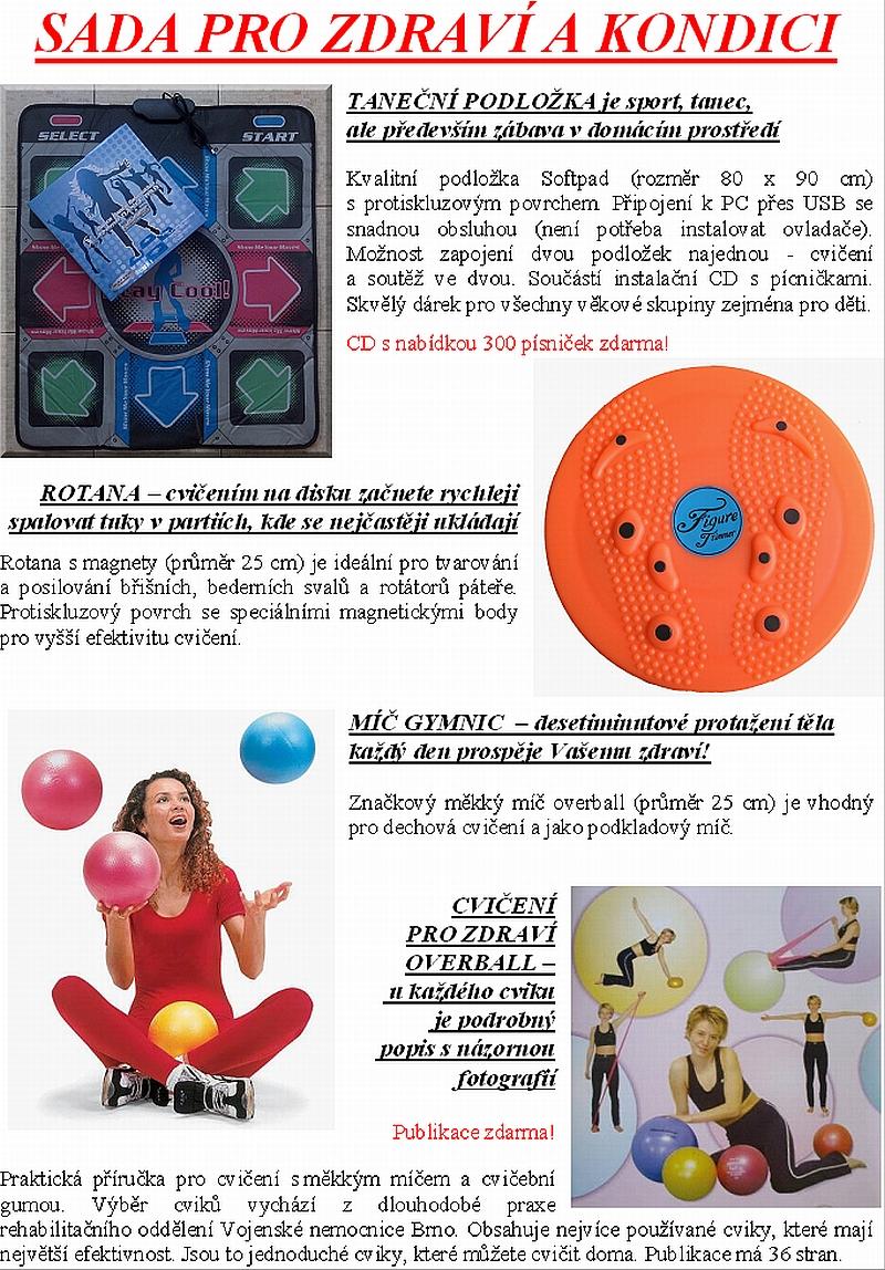 SADA PRO ZDRAVÍ A KONDICI - taneční podložka s CD + rotana + overball + příručka - za pouhých 499 Kč