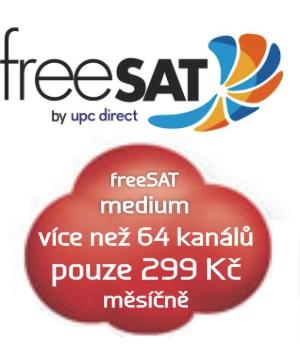 Montáž satelitní televize freeSAT medium Šumperk, Zábřeh, Jeseník, Mohelnice, Olomouc