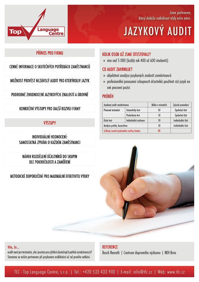 TLC - jazykový audit, analýza jazykových znalostí, hodnocení jazykové úrovně, analýza vzdělávacích potřeb, Brno