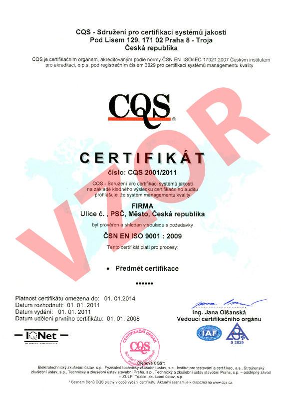 Certifikát kvality a bezpečí lůžkové zdravotní péče dle vyhlášky č. 102/2012 Sb.