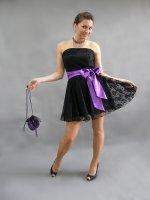 společenské šaty černé, krajkové - různé barvy stuhy