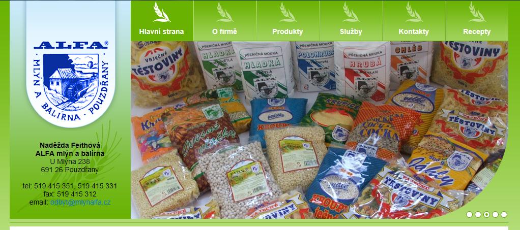 Prodej mouky ze mlýna, krup, krupice, ALFA mlýn a balírna Naděžda Feithová