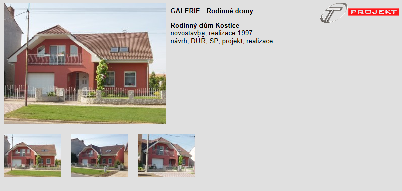 Architektonické návrhy rodinných domů, T Projekt - architektonická a projekční kancelář Ing. Pavel Tuček