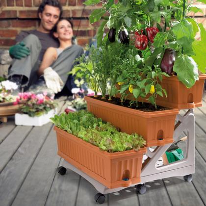 Květinové truhlíky. Víceúrovňové pěstování bylinek Zlínsko.
