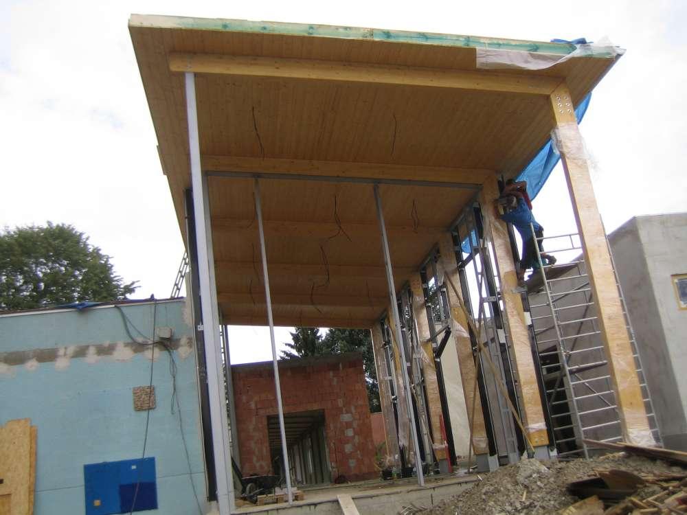 pultová střecha z konstrukčních hranolů