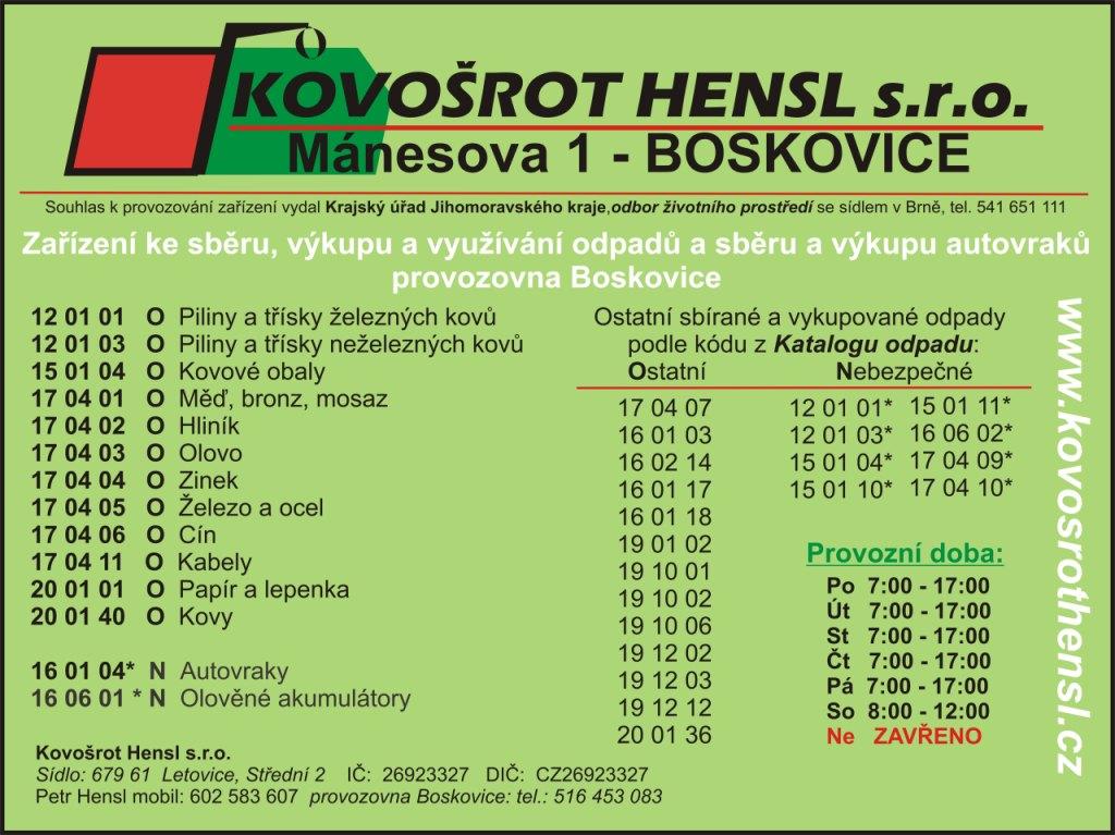 Ekologická likvidace autovraků Boskovice