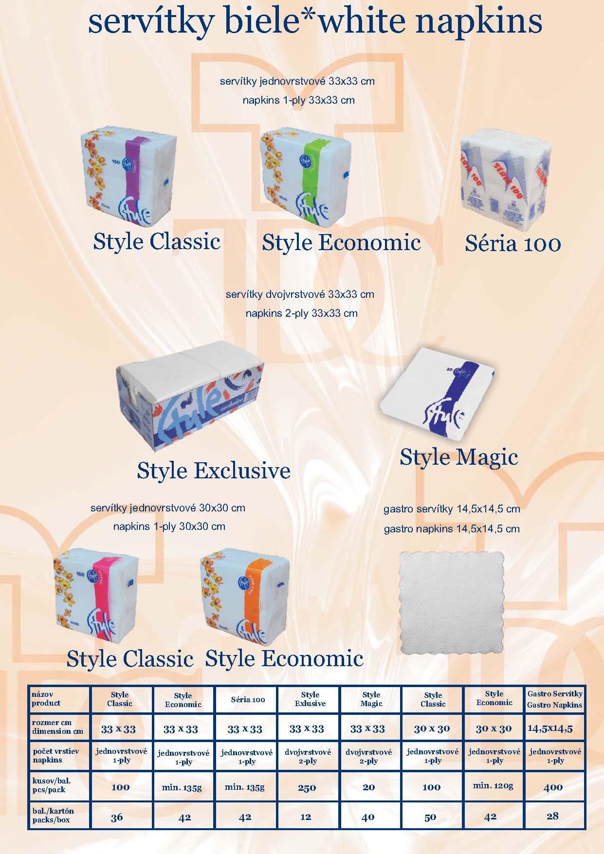 Barevné, bílé papírové ubrousky