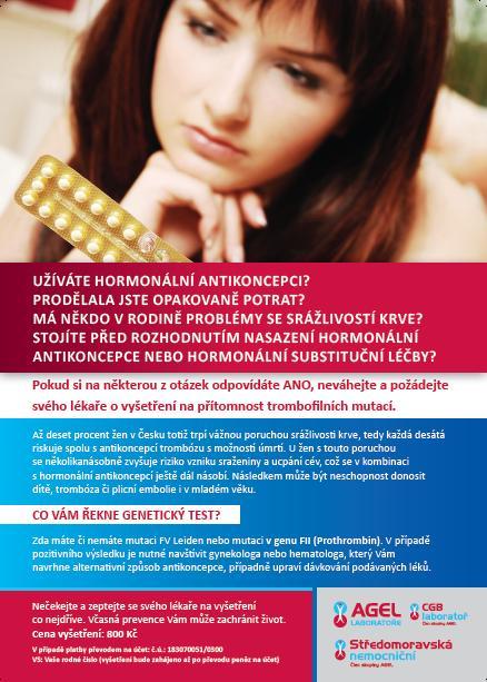 Vyšetření, porucha srážlivosti krve, riziko užívání hormonální antikoncepce Nový Jičín