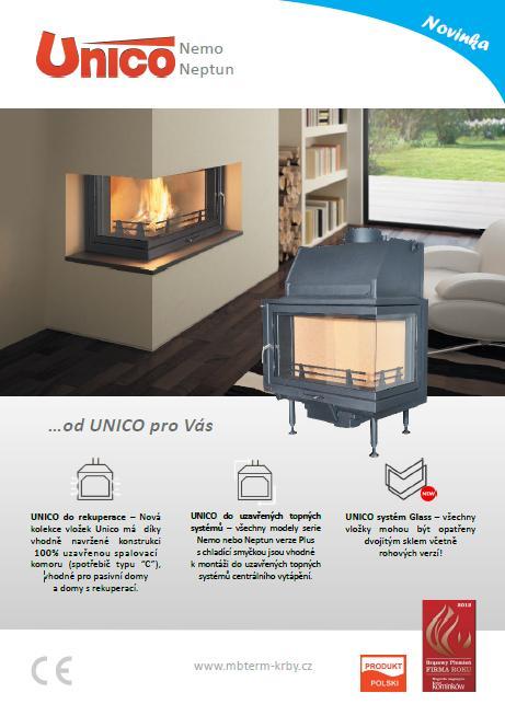 Prodej, e-shop bezroštové, roštové teplovodní krbové vložky UNICO
