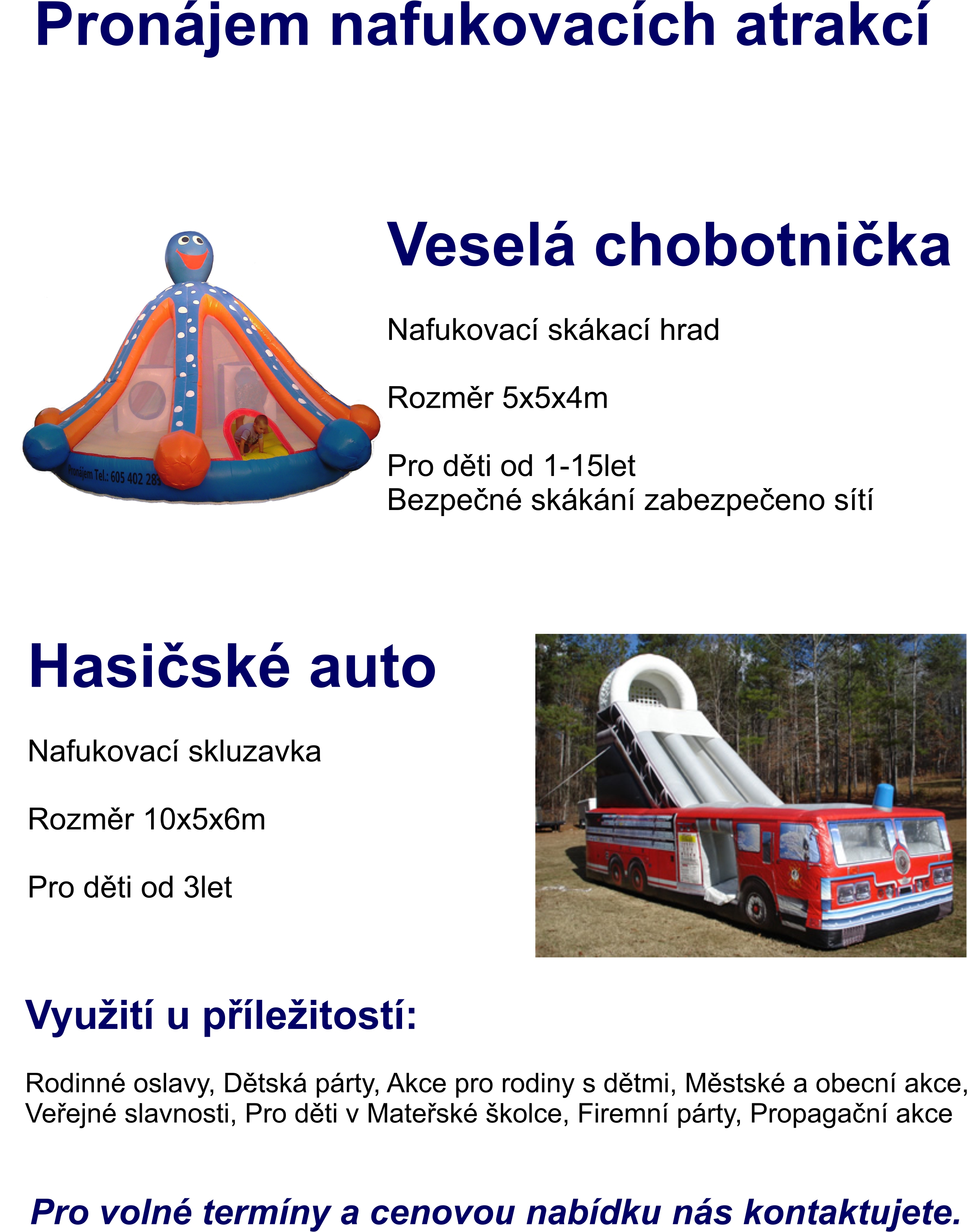 Reklamní předměty na míru, skluzavka hasičské auto Prostějov